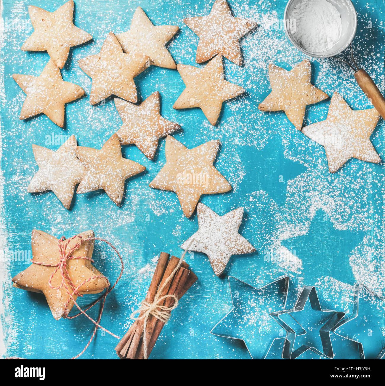 Gingerbread cookies sucré avec du sucre en poudre et cannelle Photo Stock