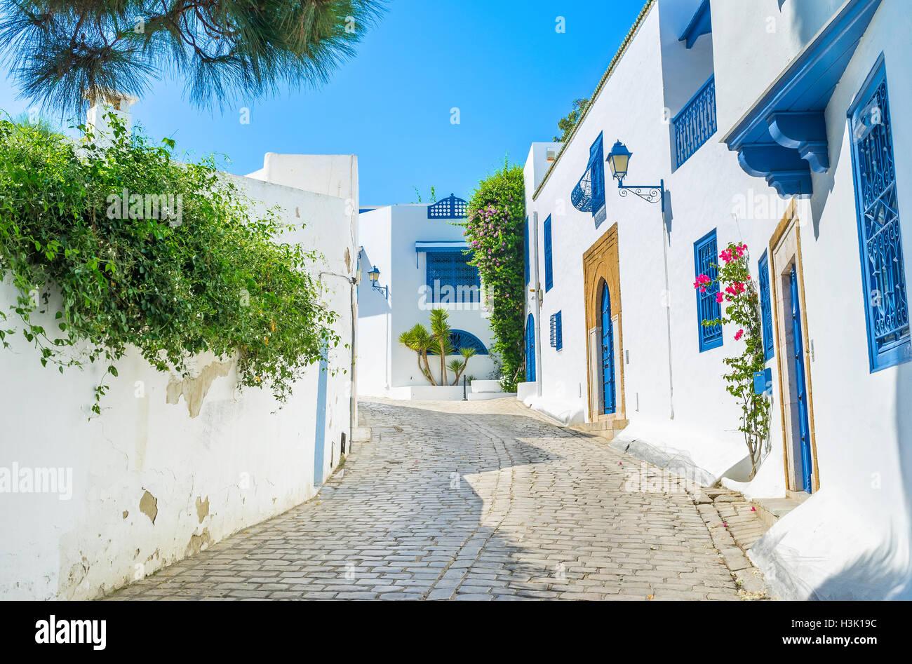 Le village de Sidi Bou Saïd est le lieu idéal pour passer des vacances, la Tunisie. Photo Stock