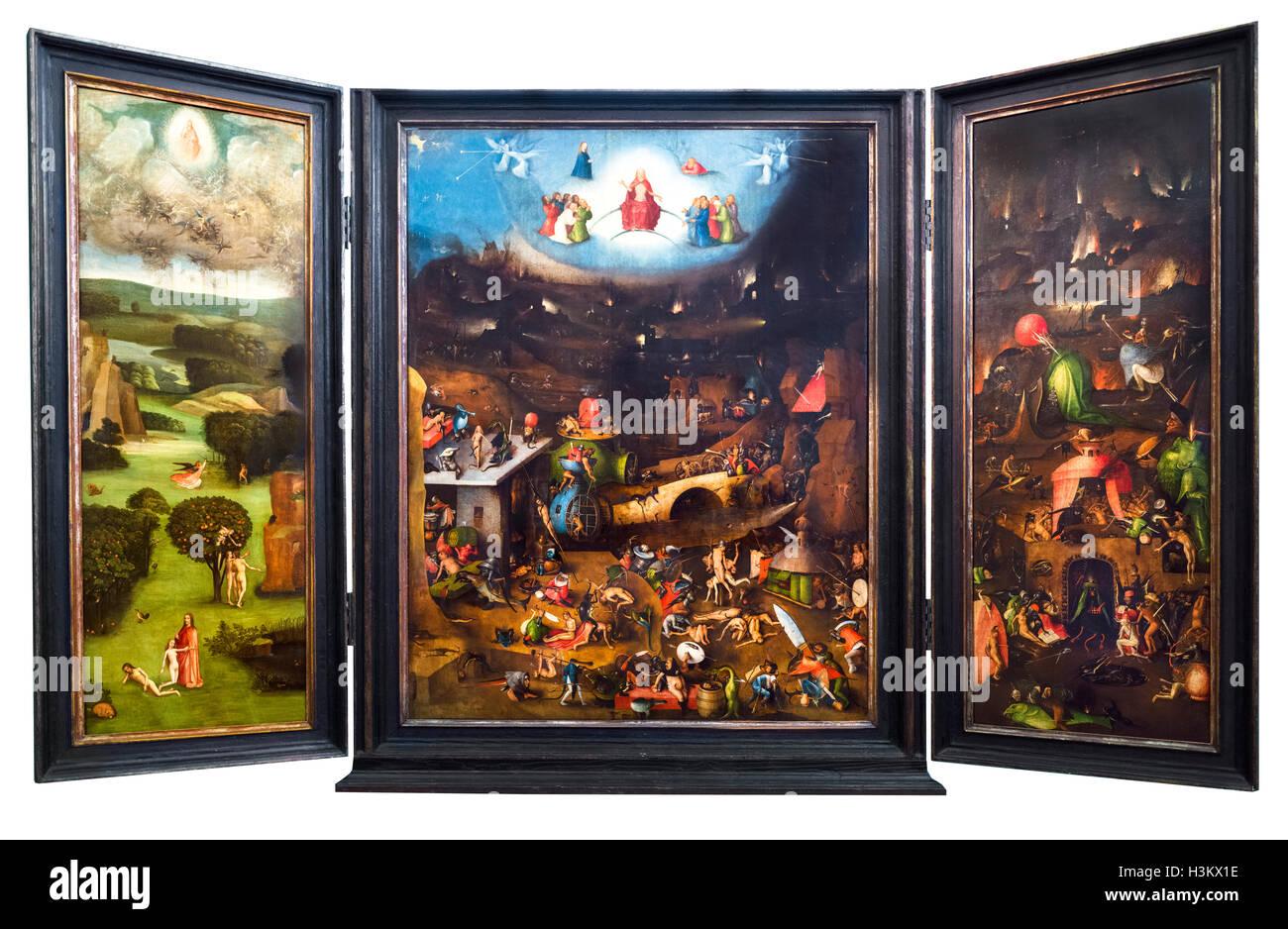 Triptyque du Jugement dernier de Jérôme Bosch, huile sur bois, c.1482. Le travail réside dans l'Académie des beaux Banque D'Images