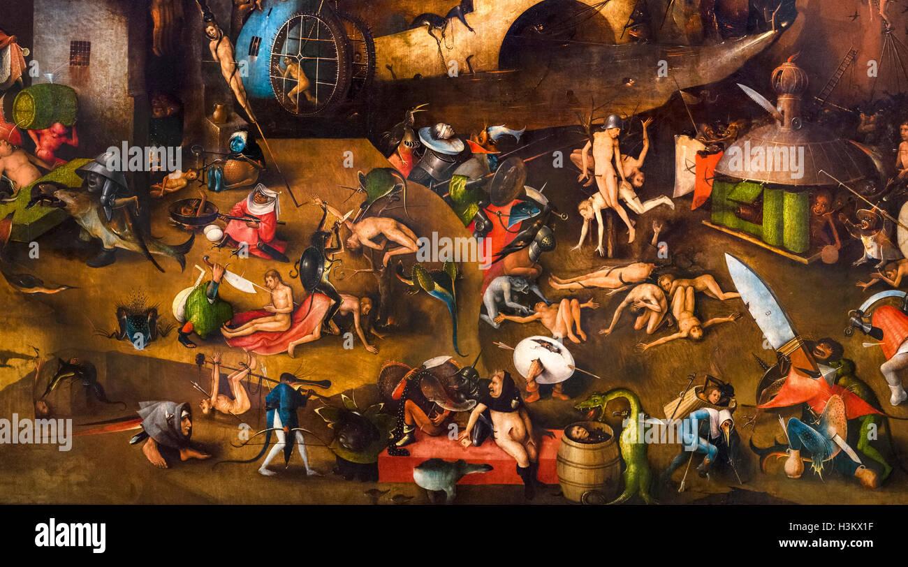 À partir de détails le panneau central du triptyque du Jugement dernier de Jérôme Bosch, huile Photo Stock