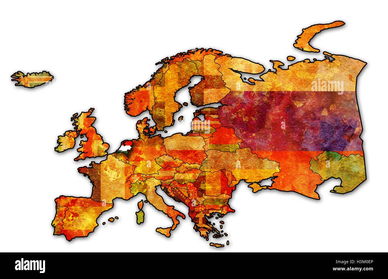 Carte Europe Pays Bas.Quelques Vieux Grunge Carte Des Pays Bas Avec Drapeau Sur La Carte