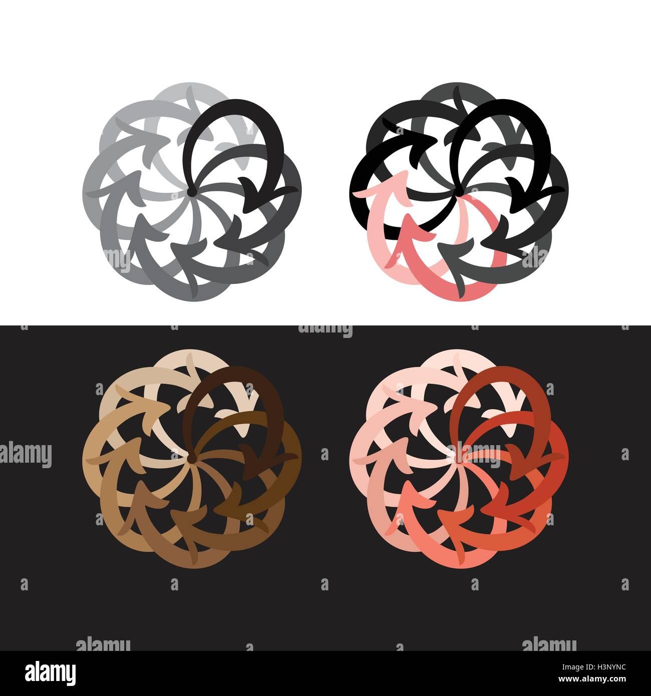 Vector set flèches colorées circle diagramme sur fond noir et blanc Illustration de Vecteur