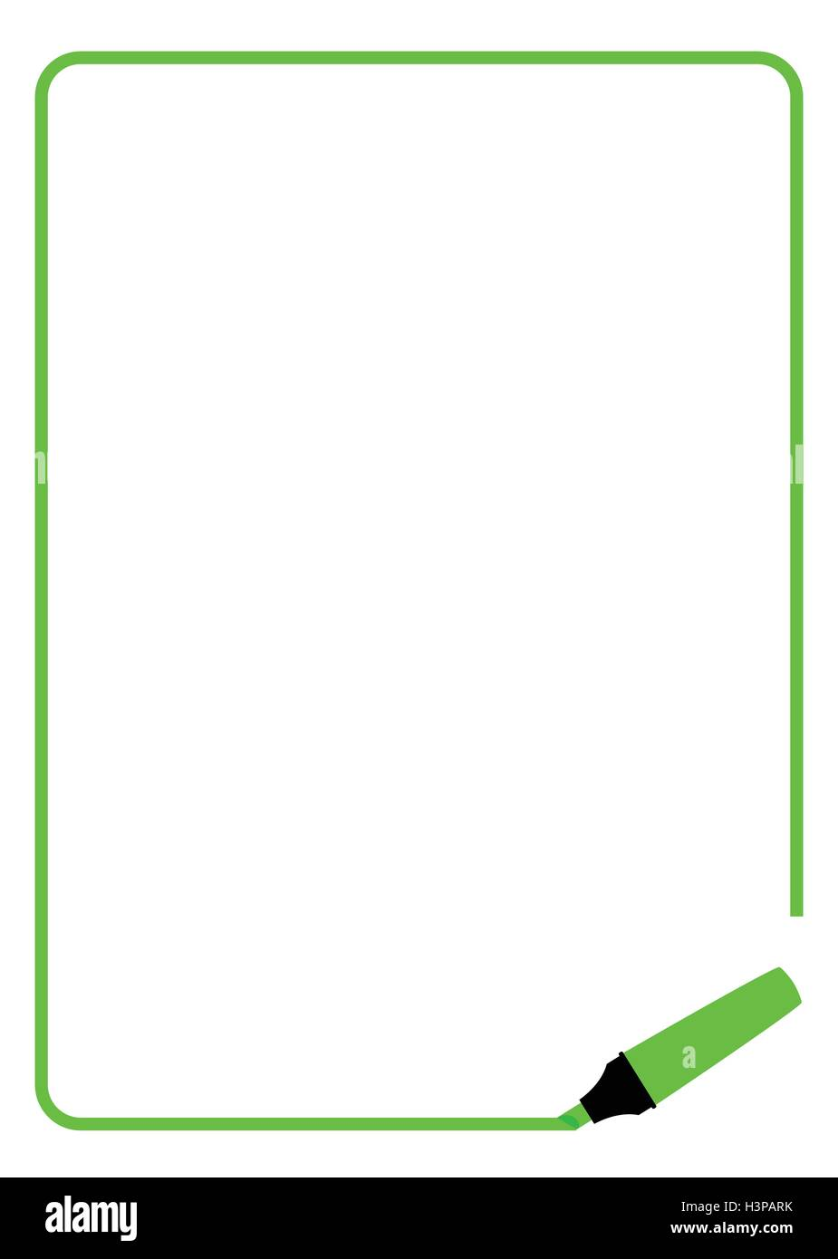 Bordure De Page Créée Par Un Feutre Surligneur Vert Vecteurs