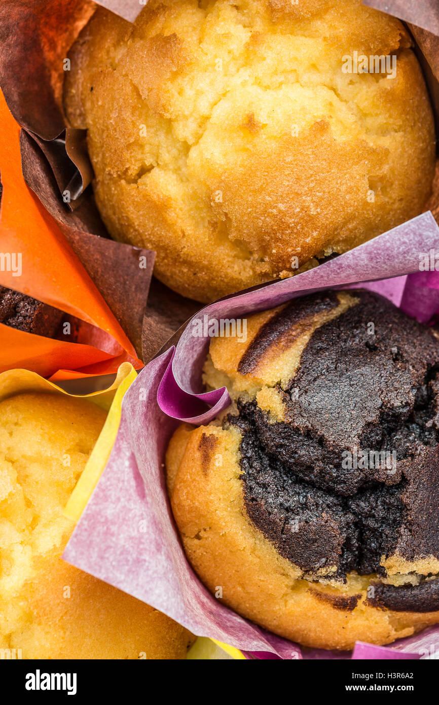 En cas muffins muffins assortis Banque D'Images