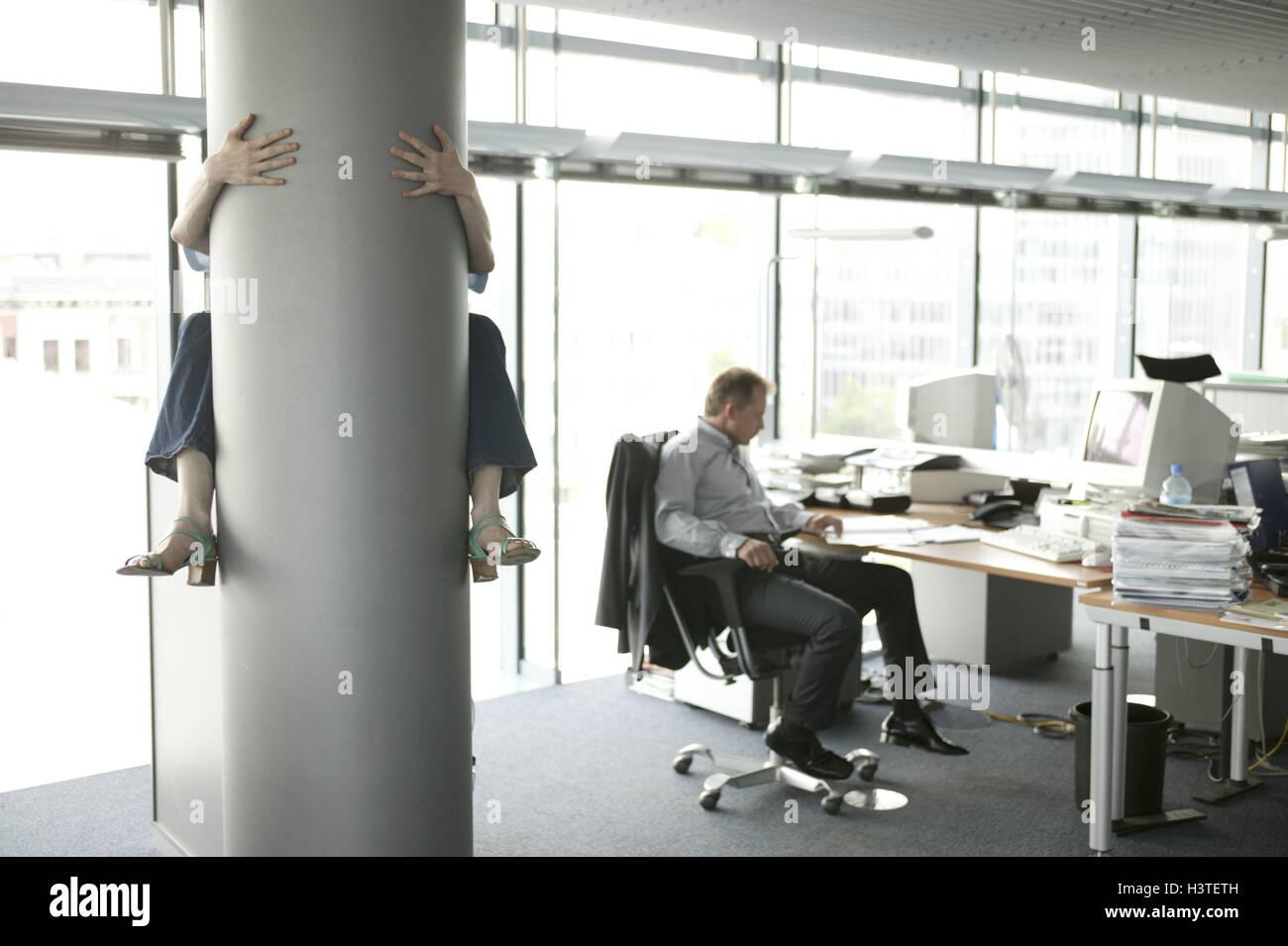 Image D Un Bureau De Travail l'homme, bureau, bureau, travail, collègue, pilier, l