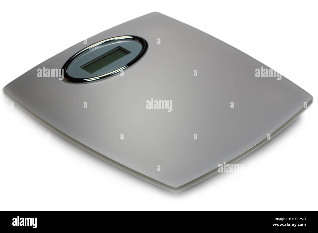 Balance de salle de bains numériques gris, isolé, Grand Gros plan détaillé, verre gris argent Photo Stock