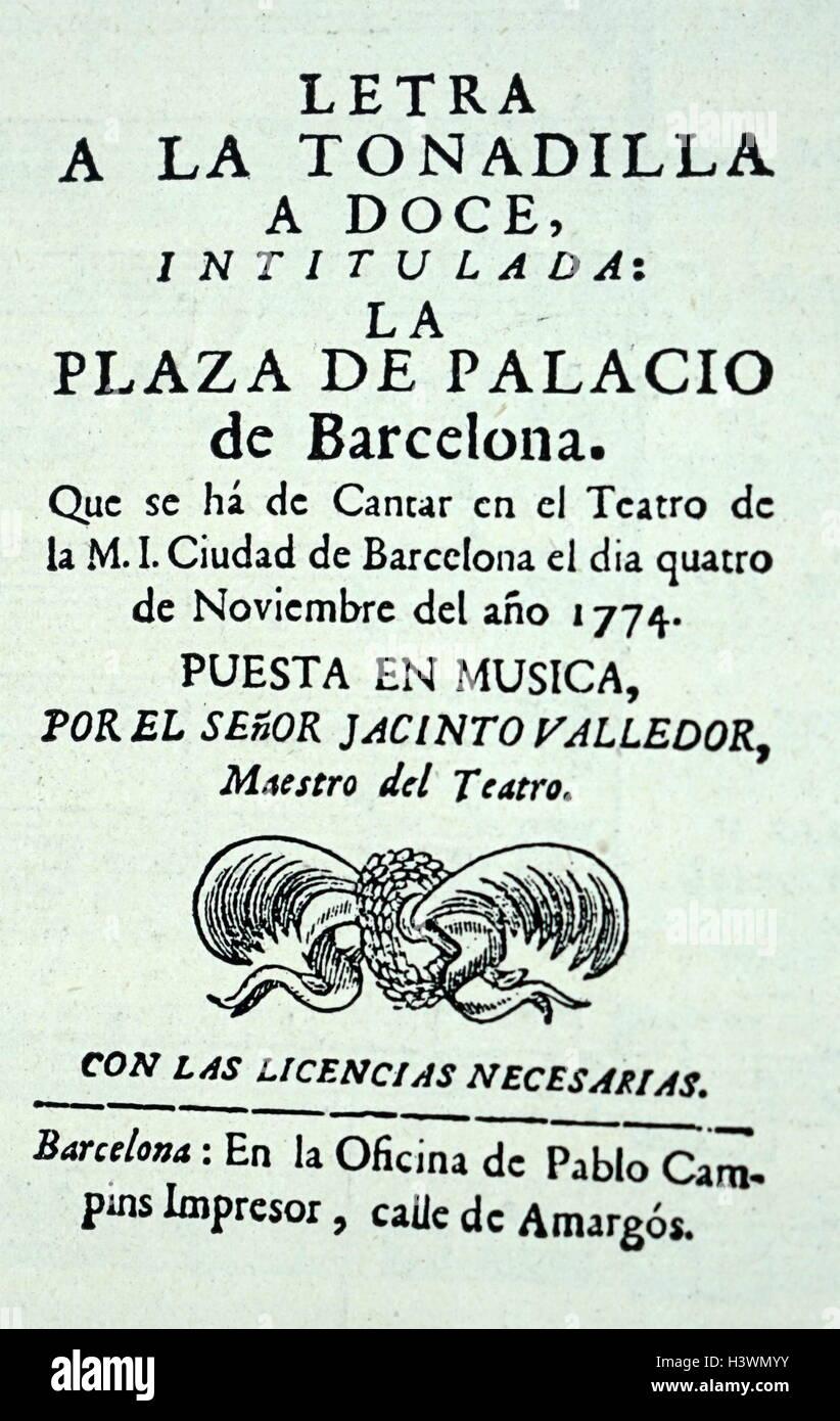 Couverture de 'une lettre aux Douze Tonadilla'. En date du 18e siècle Photo Stock