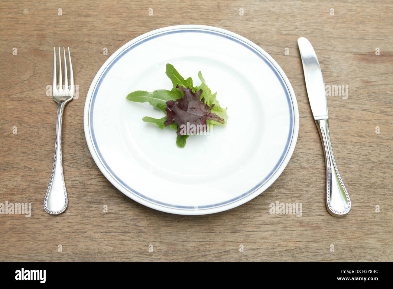 plaque, feuilles de salades, des instruments, des matières de la