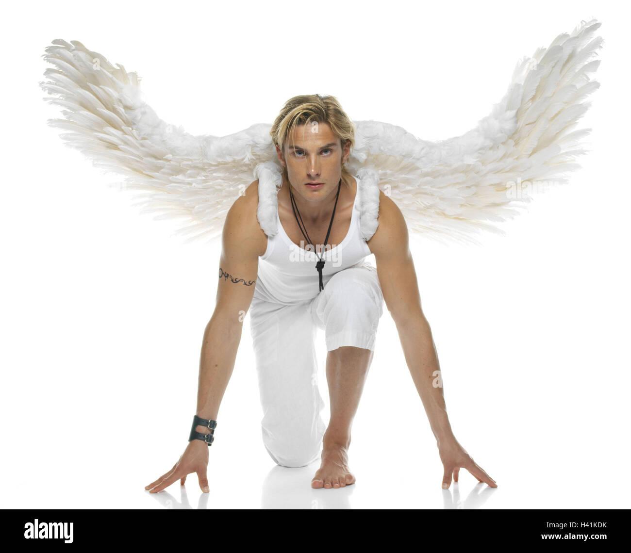 Image D Ange Homme l'homme, jeune, blonde, les ailes d'ange, de l'accroupissement, 20 à