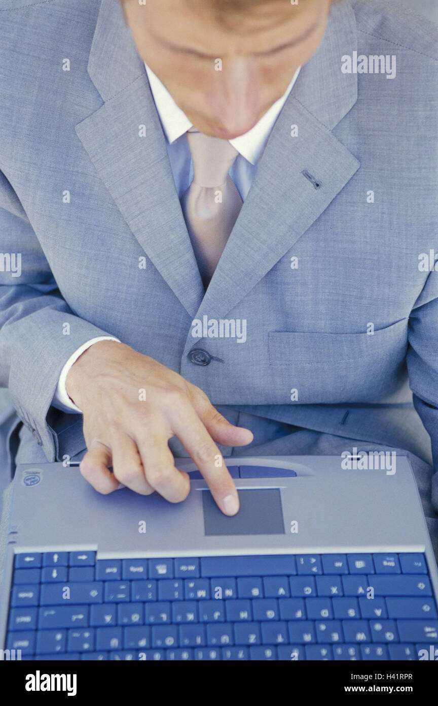 Manager, ordinateur portable, détail, touchpad, homme d'affaires, homme, ordinateur portable, travail, Photo Stock