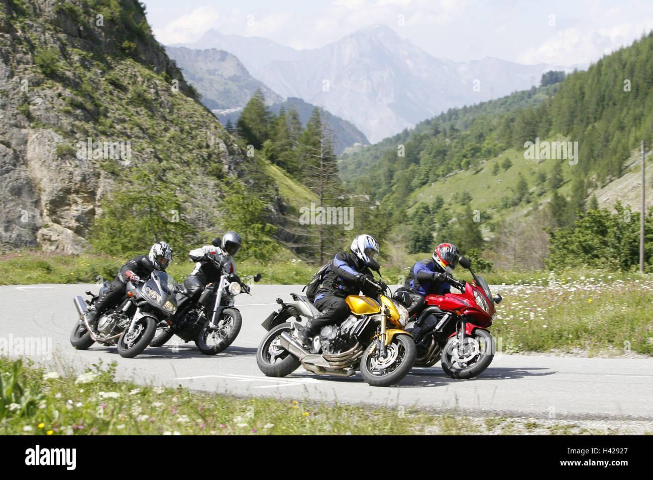 Les motocyclettes, 4e formation, alp scenery Banque D'Images