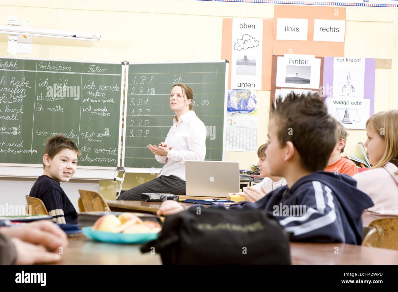 Classe, enseignant, écolier, leçons, Photo Stock