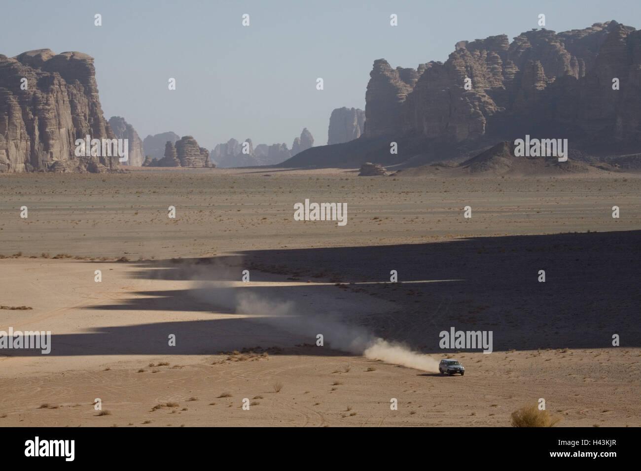 L'Arabie saoudite, province de la Hisma Tabuk, monde des montagnes, désert montagneux, jeep, Photo Stock