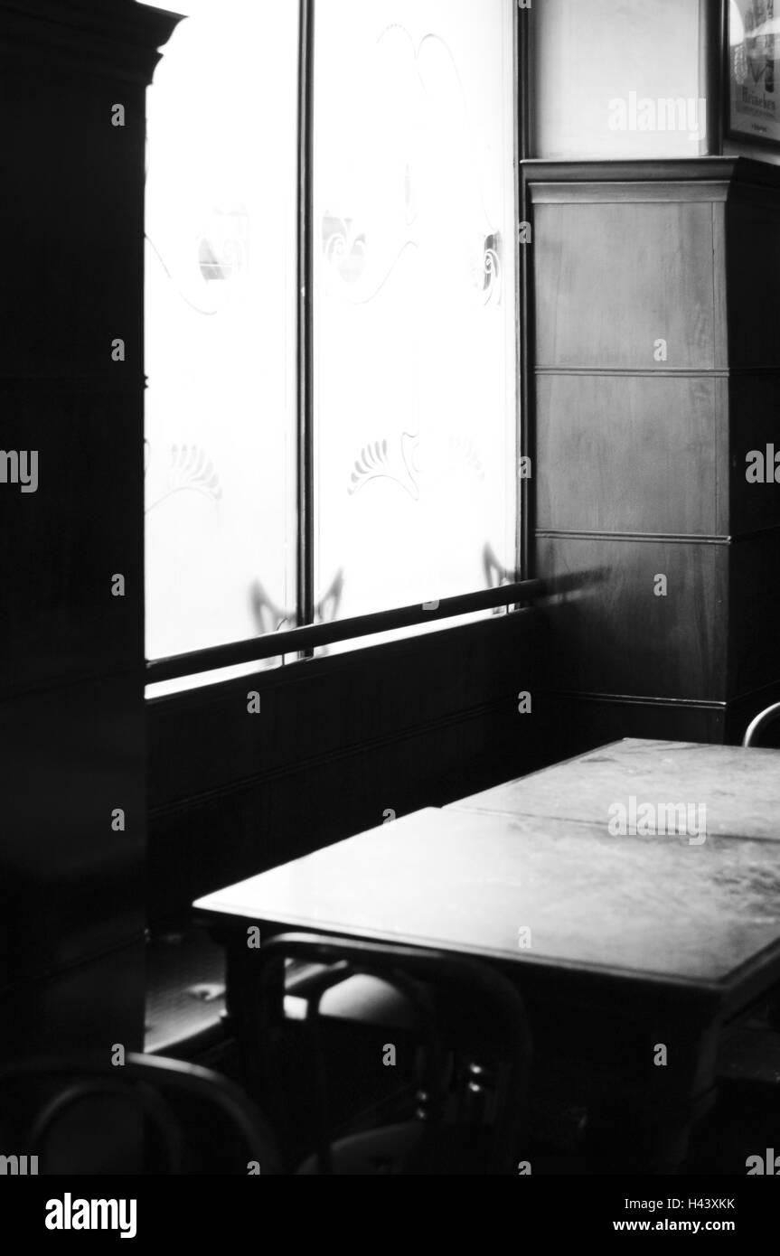 Localement, table, fenêtre, b/w, Photo Stock