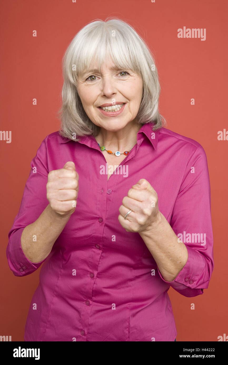 Senior, geste, pollex, supprimées, énergiquement, voir l'appareil photo, portrait, demi-Best-Age, Photo Stock