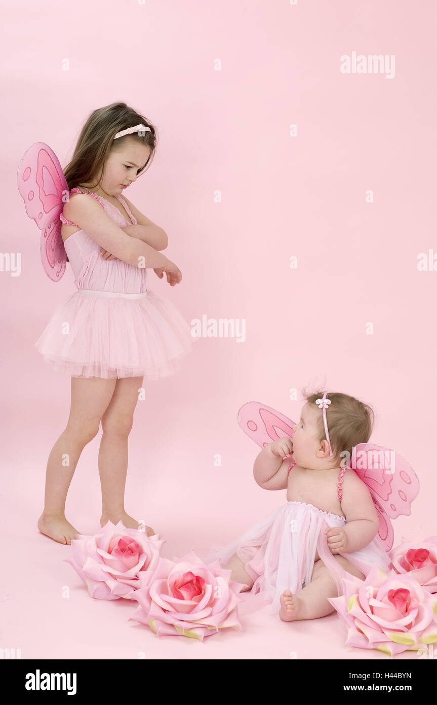 Les filles, deux, déguisement, fée, Photo Stock