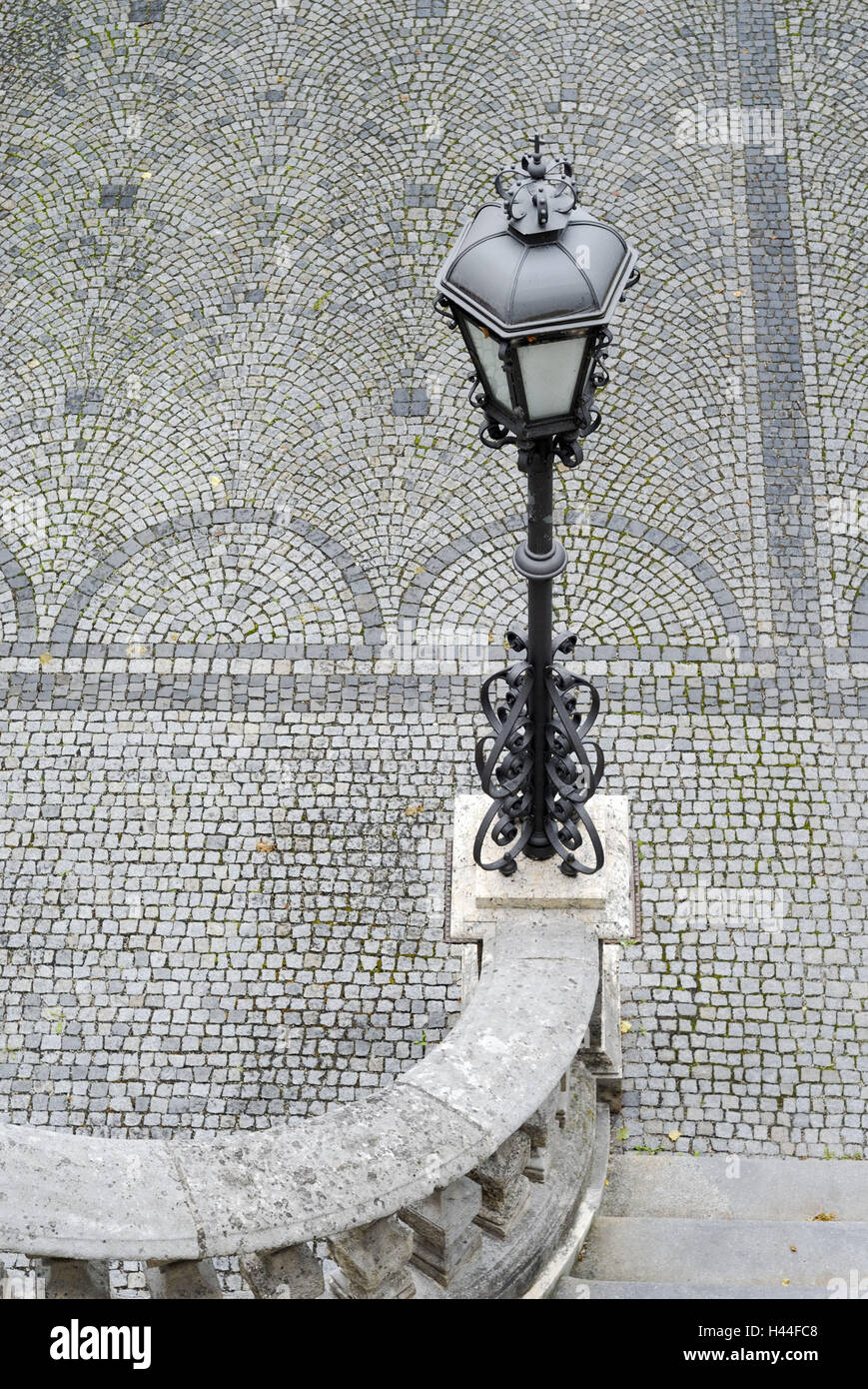 Lanterne, pôle de lumière, escaliers, marches, main courante, pavement, gris, Photo Stock