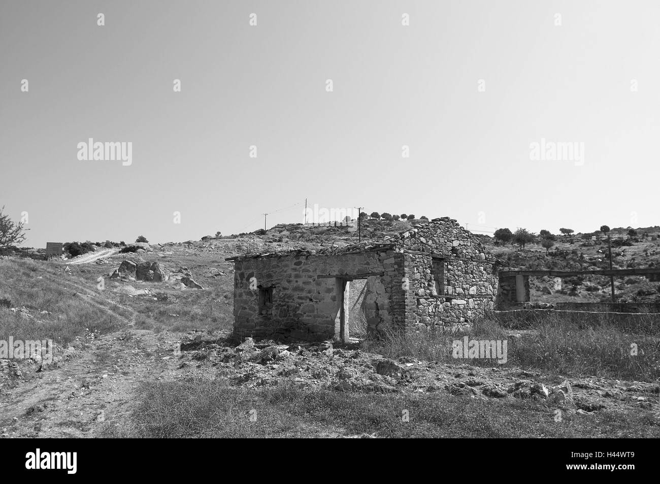 Paysages, ruines, b/w, , Photo Stock
