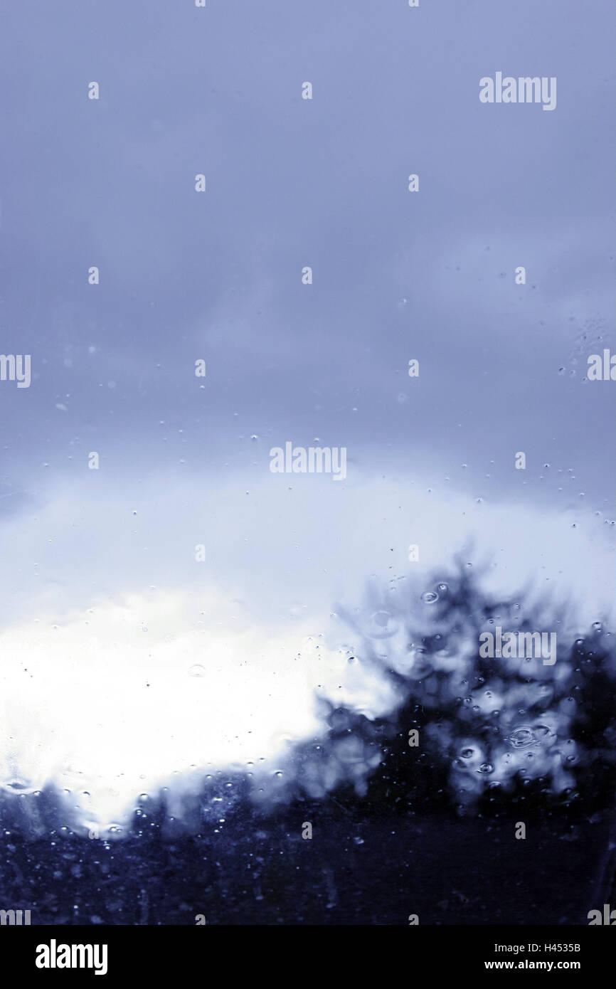 Fenêtre, vue, météo, pluie, gloomily morne, gris, décourageant, de la fenêtre, vitre, chambre, Photo Stock