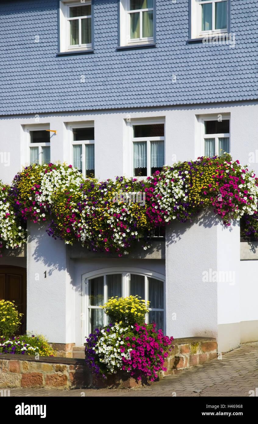 Allemagne, Hesse, Rhön, Schlitz (village), façade de maison ...