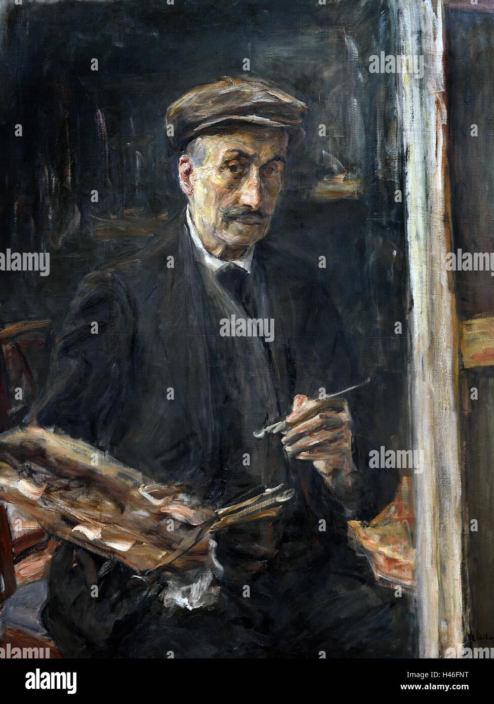 Self Portrait avec bouchon sport au chevalet 1925 MAX LIEBERMANN (1847-1935) Allemand Allemagne Photo Stock