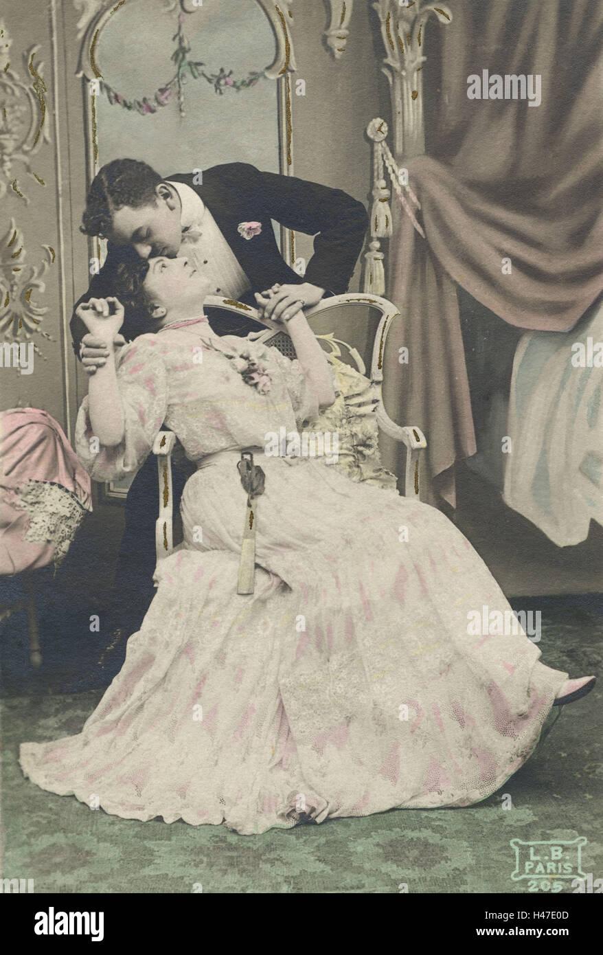 Nostalgie, couple, romantique, tendresse, Kiss, carte postale, nostalgique, Photo Stock
