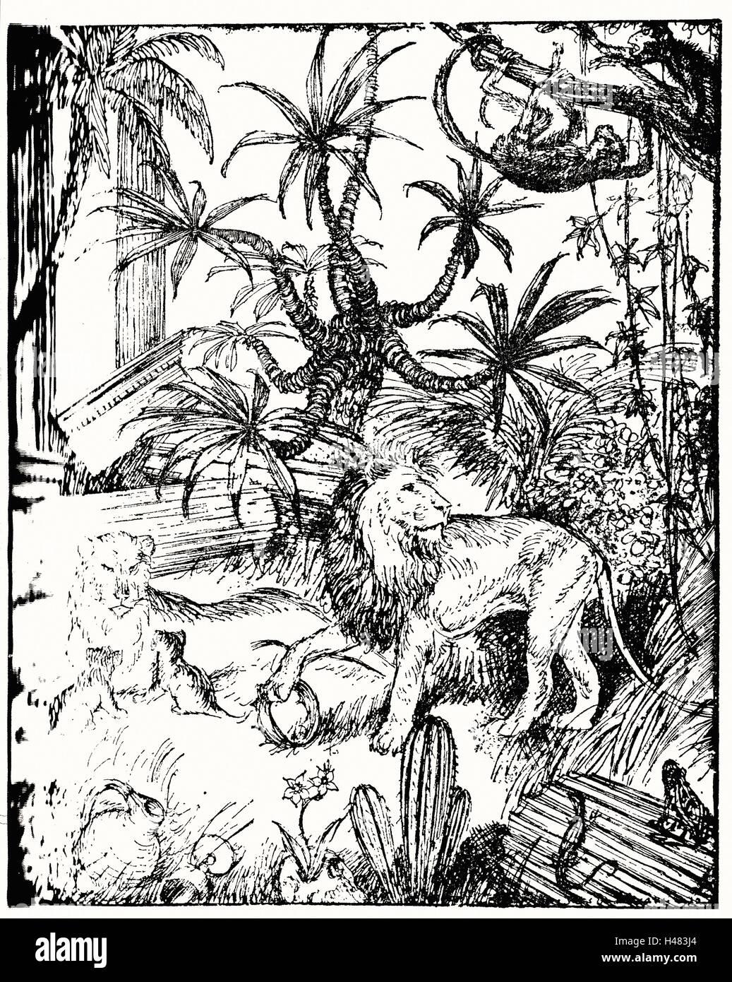 Edmund J Sullivan Illustrations pour le Rubaiyat d'Omar Khayyam Première version Quatrain Photo Stock