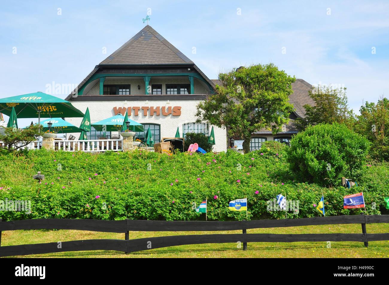 Allemagne, Basse-Saxe, l'île de Baltrum, Mer du Nord, restaurant, Witthus, Banque D'Images