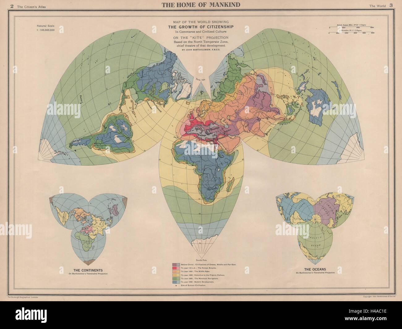 Propagation de la civilisation de l'antiquité à 1940. Monde sur la carte 1944 Projection Kite Photo Stock