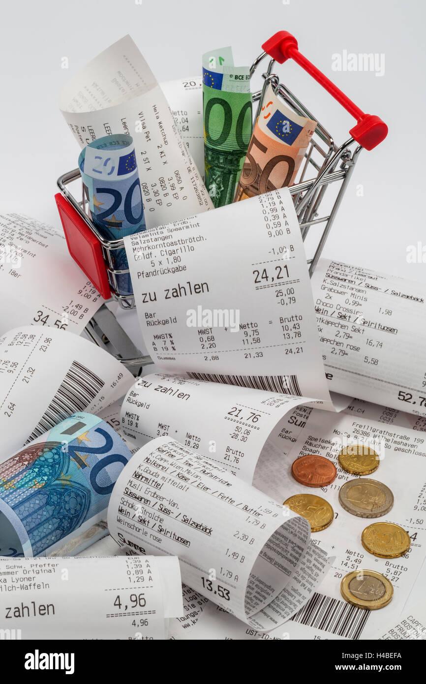 Panier, reçus, billets, aplatis, différent, photo symbolique, l'achat, la consommation, Photo Stock