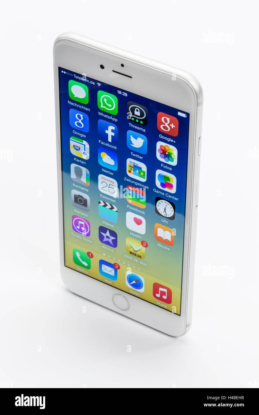 Apple iPhone 6 plus, l'affichage, les applications, les programmes, la fonction multi-touch, Photo Stock