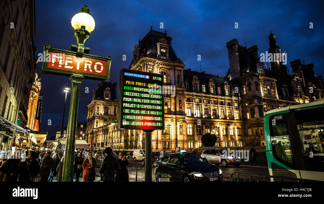 Europe, France, Paris, l'Hôtel de Ville, Banque D'Images