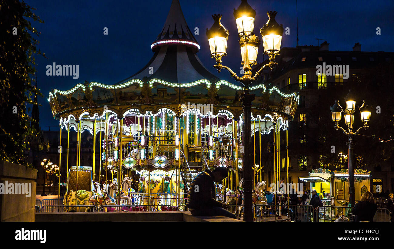 Europe, France, Paris, Carrousel à l'Hôtel de Ville Banque D'Images