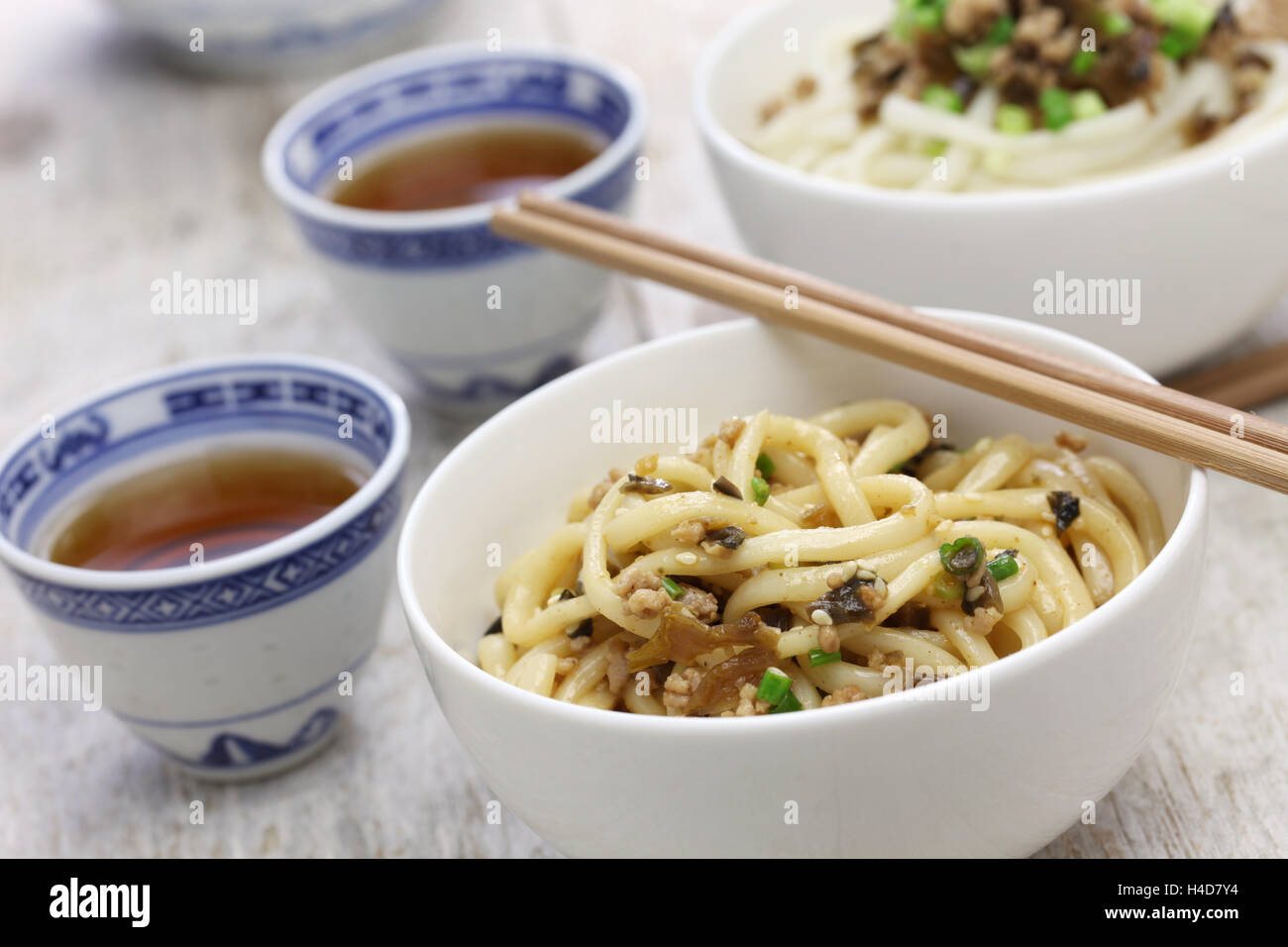 Dan dan, la cuisine du Sichuan nouilles chinoises Photo Stock