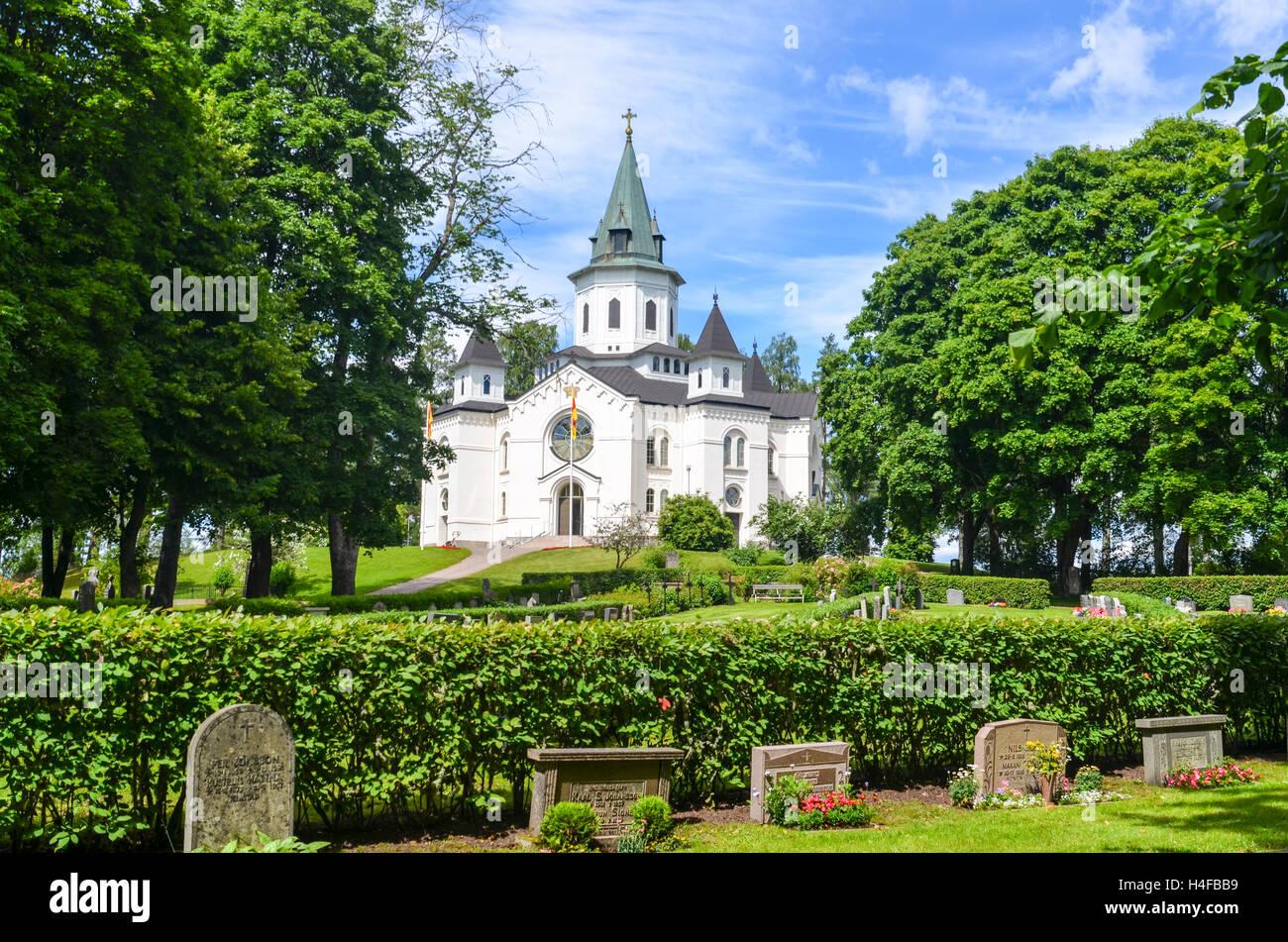 Église et cimetière en Suède, Sillerud Photo Stock