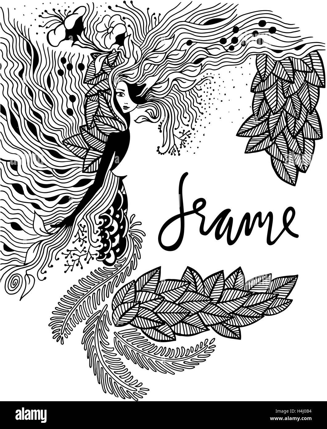 Vector Illustration Tangle Zen Portrait D Une Femme Dans Une Fleur