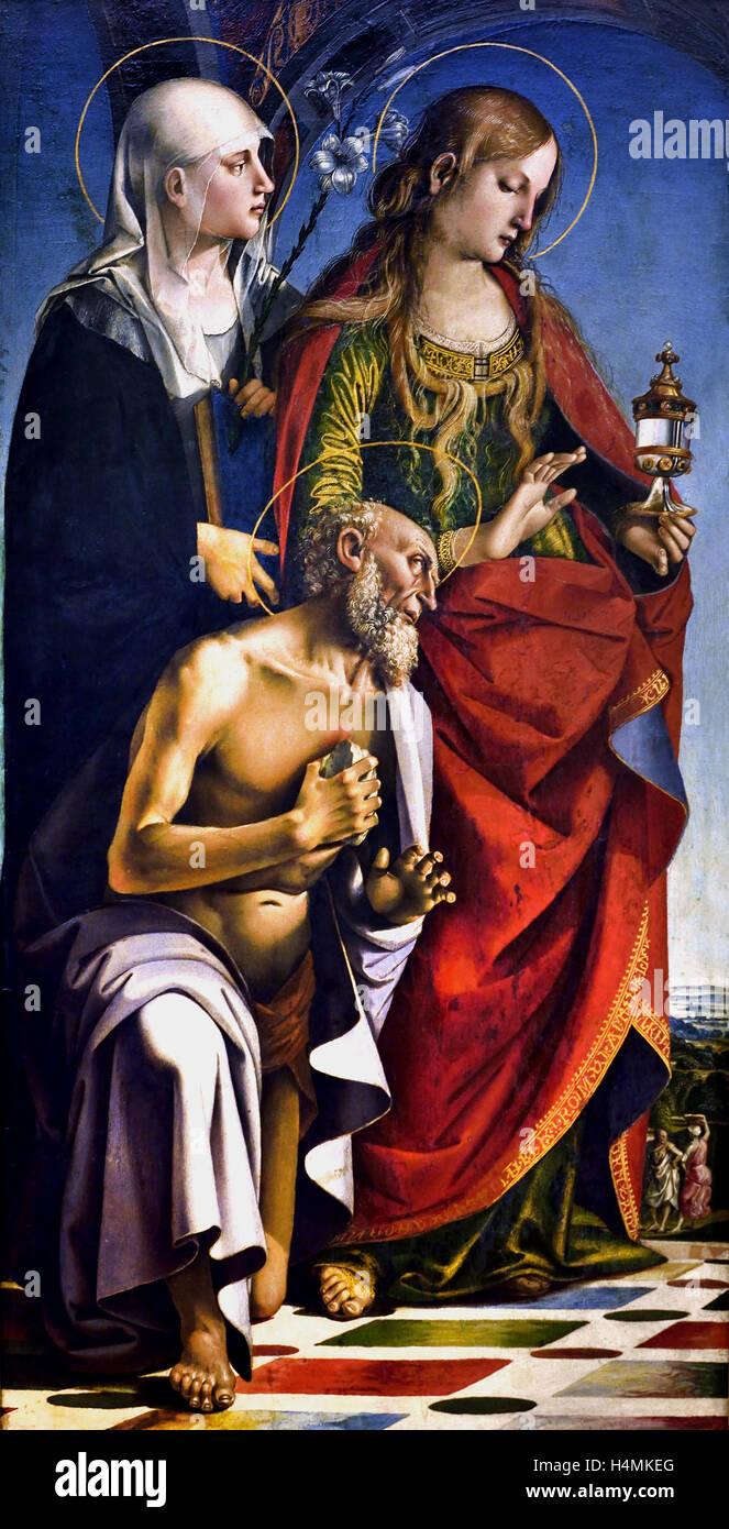 Les Saints Eustachius, Magdalena et Jérôme de Luca Signorelli 1441 - 1523 peintre italien Italie Photo Stock