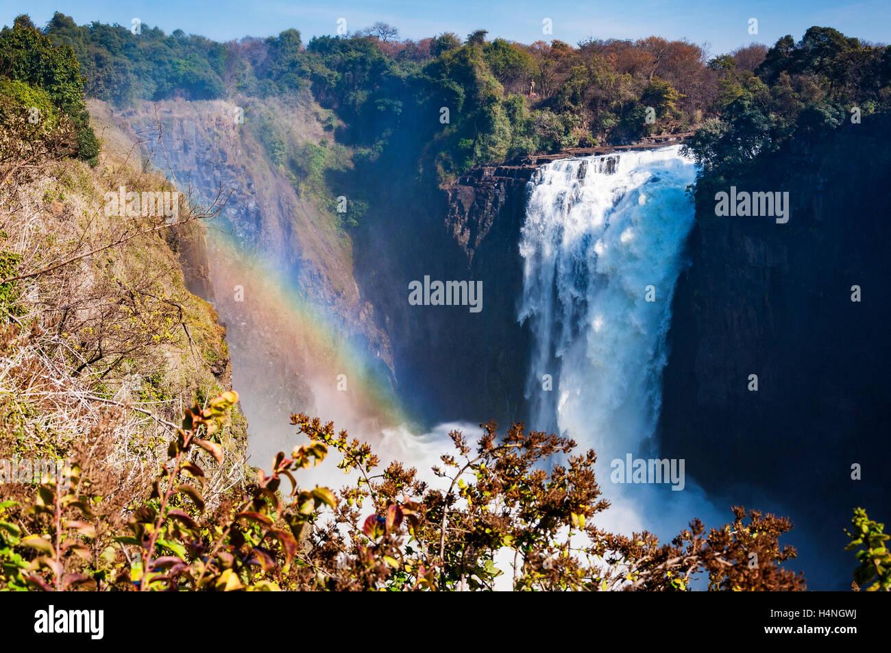Vue des chutes Victoria au Zimbabwe, Afrique; Concept pour voyager en Afrique Photo Stock