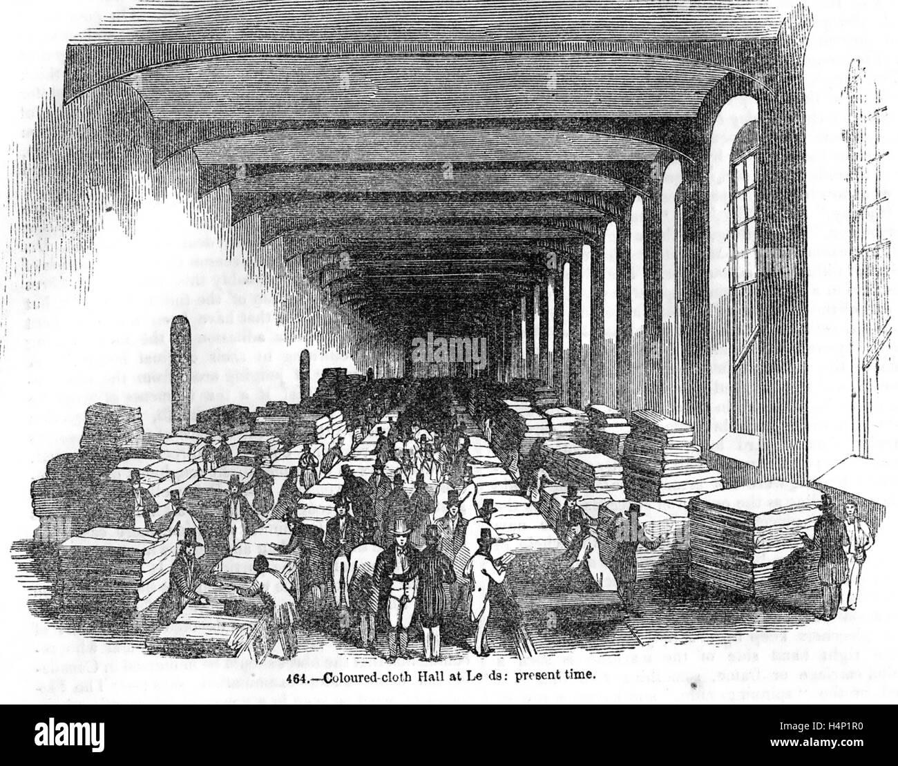 Salle DES VENTES DES TEXTILES COLORÉS À LEEDS sur 1850 Photo Stock