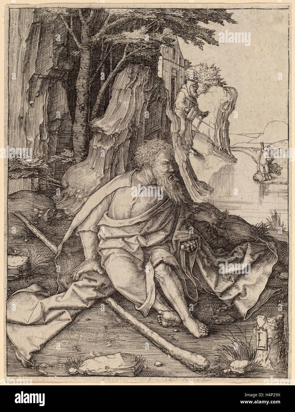 Lucas van Leyden (1489-1494, Russisch - 1533), Saint Christophe à la frontière d'une rivière, ch. La gravure, 1505 Banque D'Images