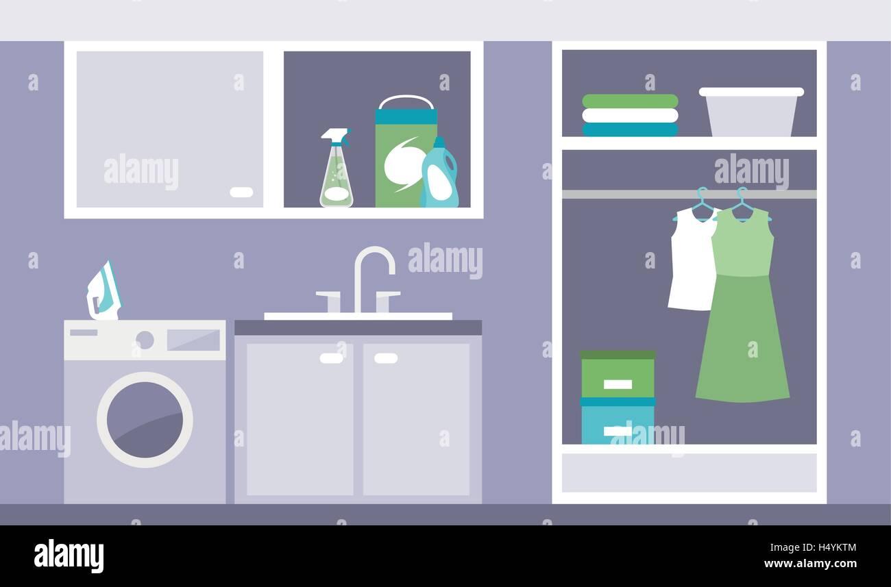 Buanderie moderne avec lave-linge, fer à repasser et d\'une armoire ...