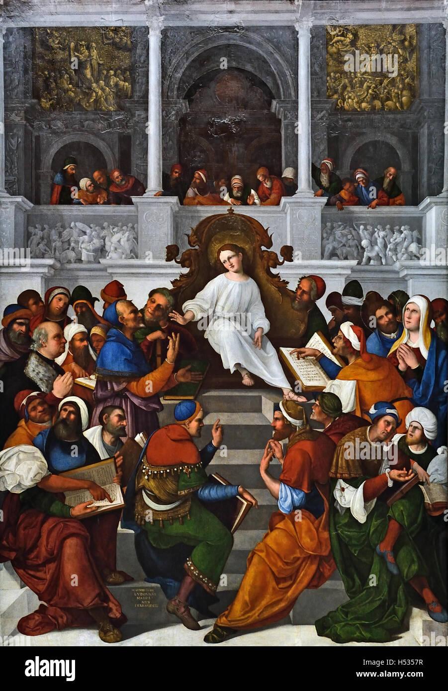 La période de douze ans, Jésus au temple Ludovico Mazzolino1480 - 1528 connu sous le nom de Mazzolini Photo Stock