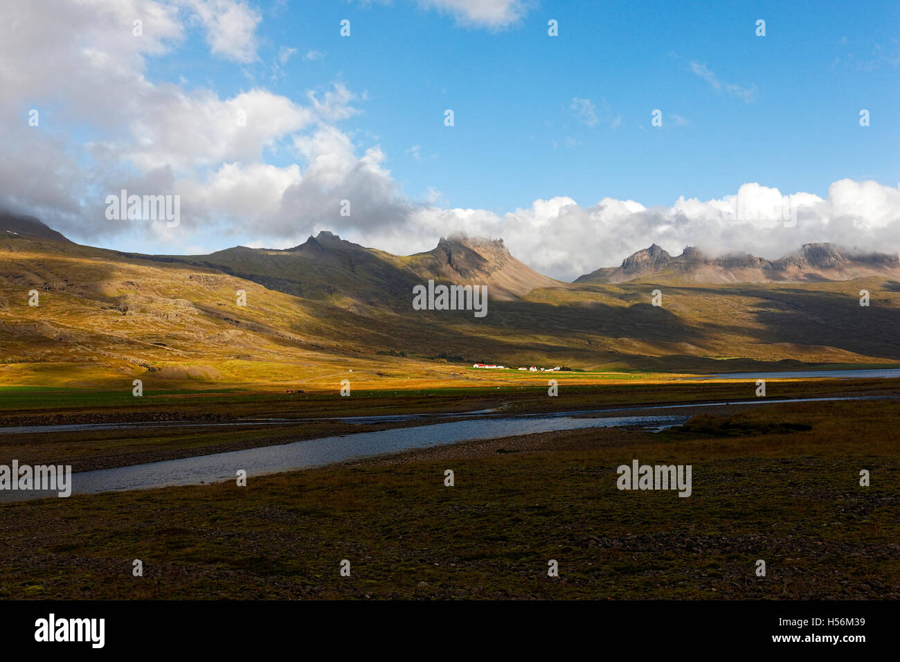 Paysage, est de l'Islande, de l'Atlantique Nord, Europe Photo Stock
