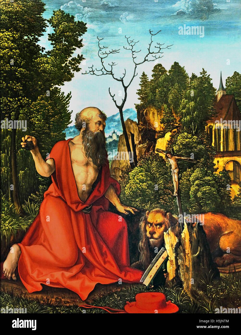 Der Heilige Hieronymus - Le Saint Jérôme 1504 Schäuflein 1480-1540 Allemagne allemand Hans Photo Stock