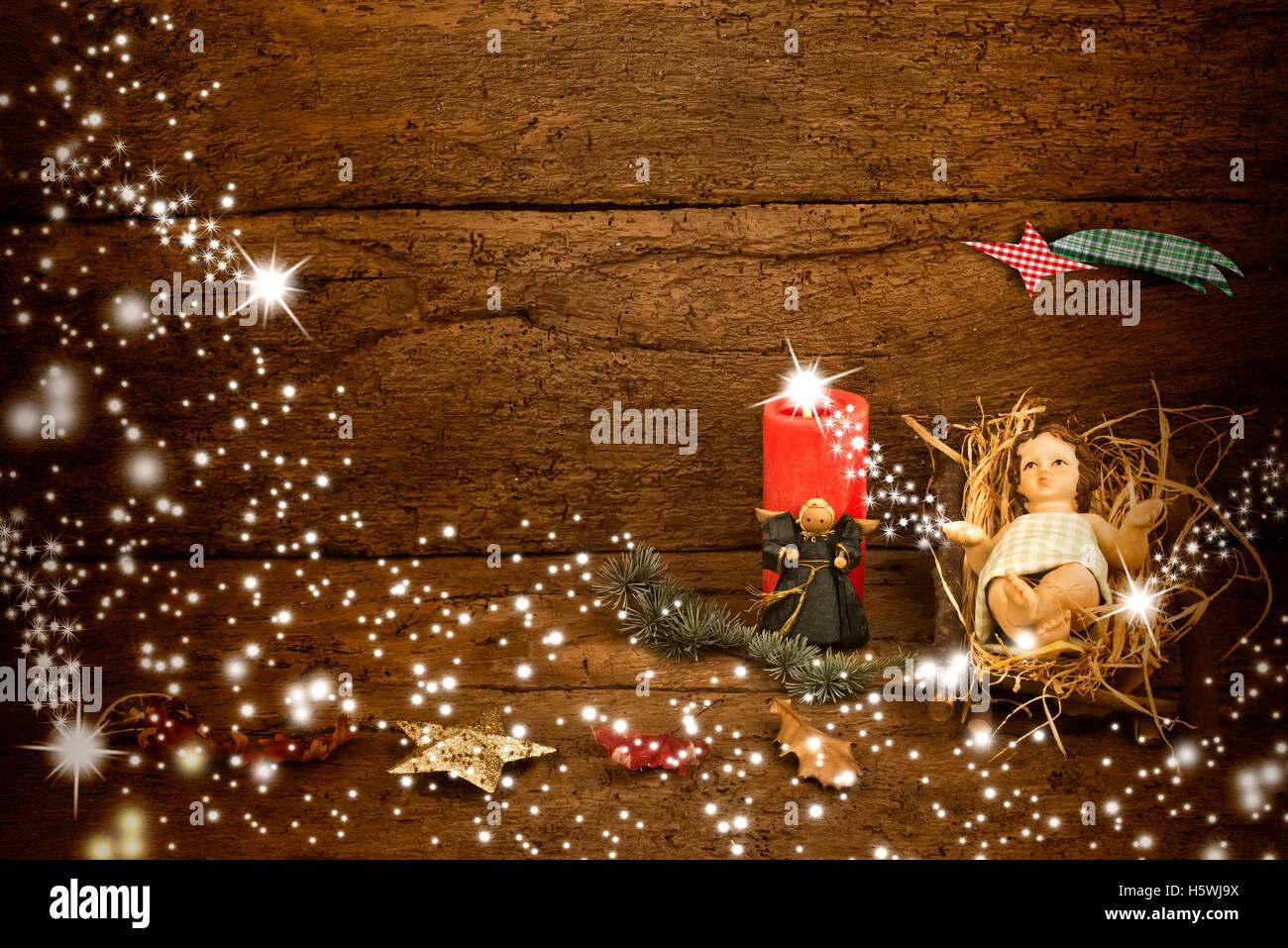 Carte de Noël avec l'espace pour le message, l'Enfant Jésus dans