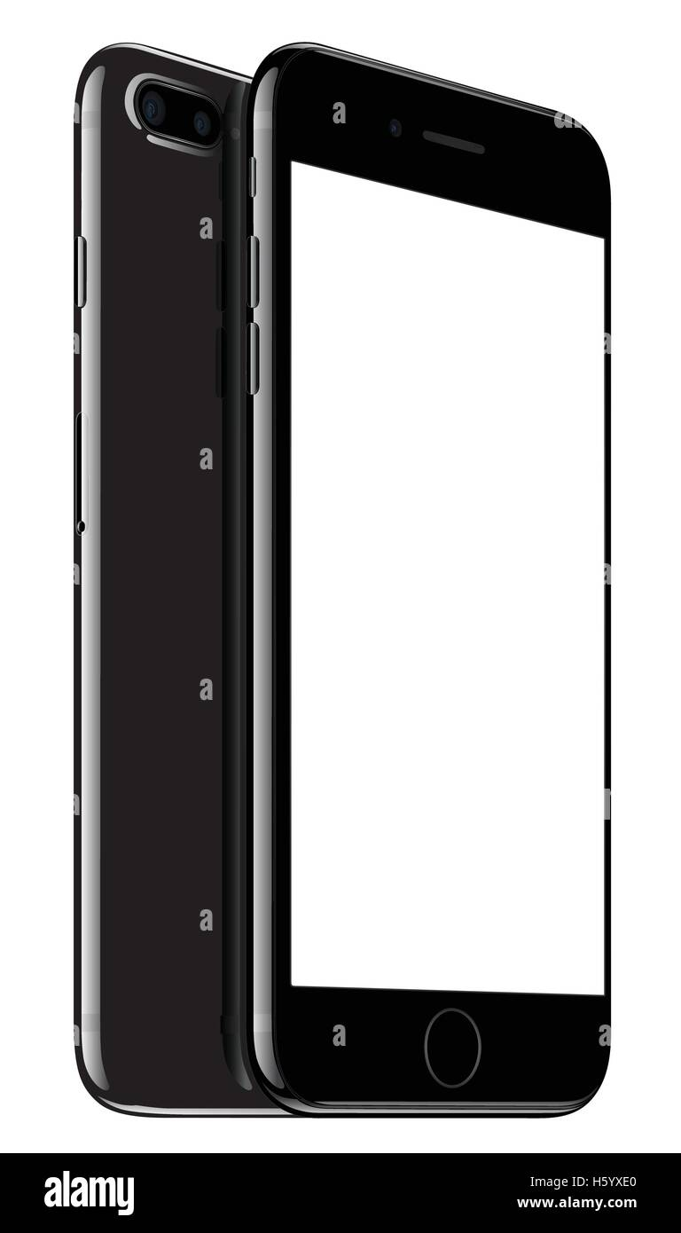 Illustration Vecteur De Jet Black Iphone 7 Plus Sur Fond Blanc