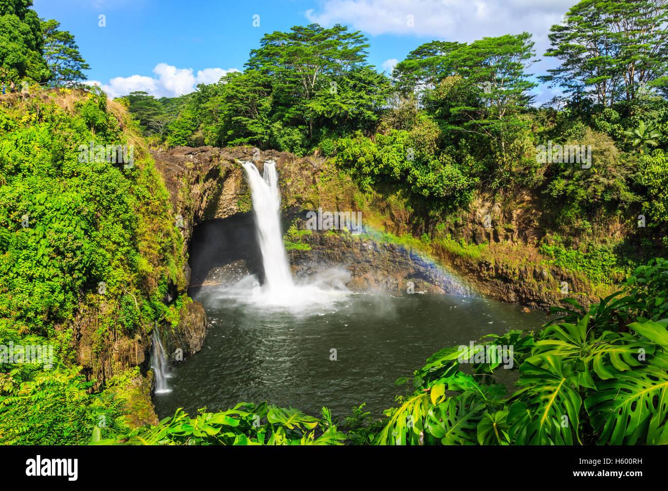 New York, Rainbow Falls à Hilo. Photo Stock