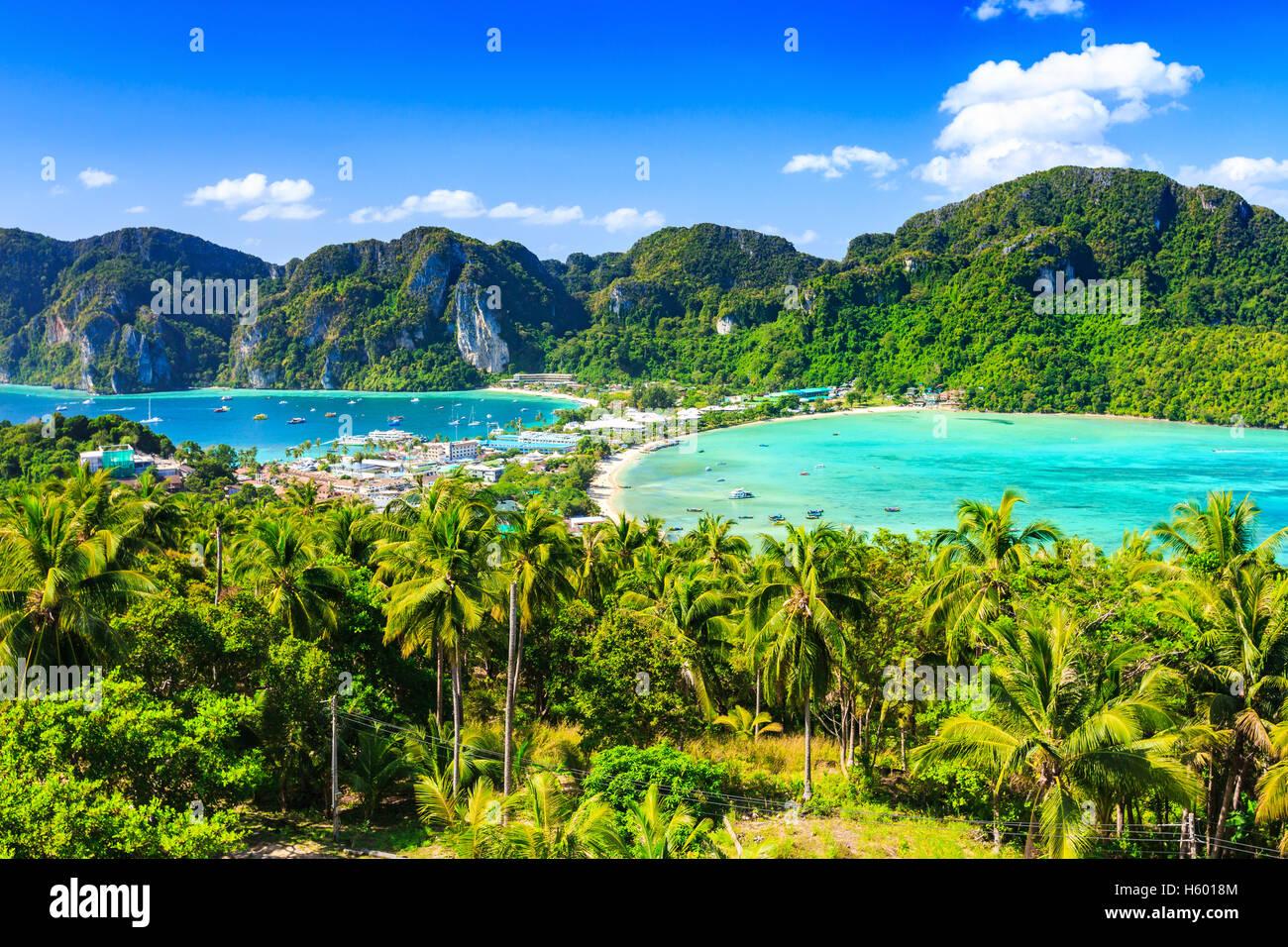 La Thaïlande, l'île de Phi Phi Don, province de Krabi. Photo Stock