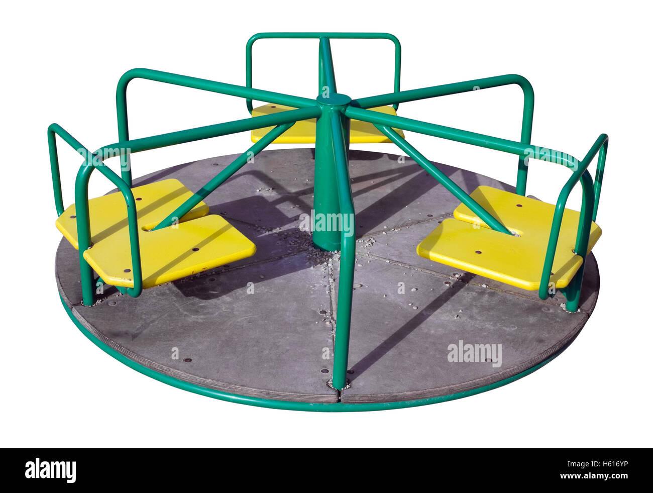 Petit rond-point mécanique simple sur le carrousel pour les enfants. Isolé avec patch Photo Stock