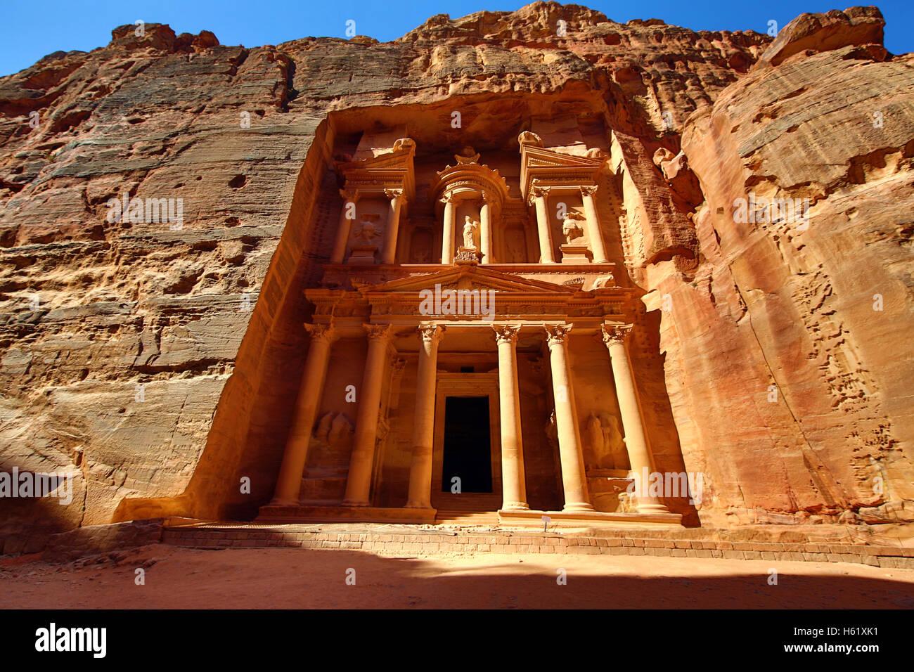 Vue de la trésorerie, Al-Khazneh, Petra, Jordanie Photo Stock